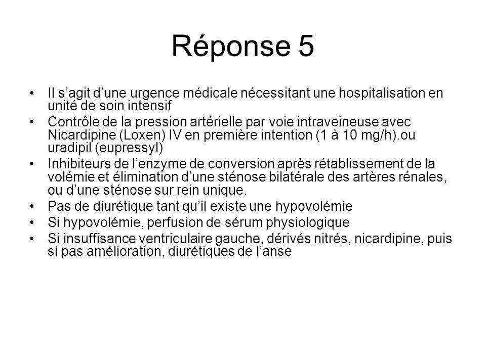 Réponse 5 Il sagit dune urgence médicale nécessitant une hospitalisation en unité de soin intensif Contrôle de la pression artérielle par voie intrave