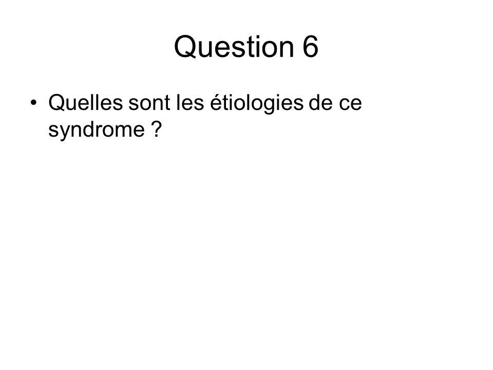 Question 6 Quelles sont les étiologies de ce syndrome ?