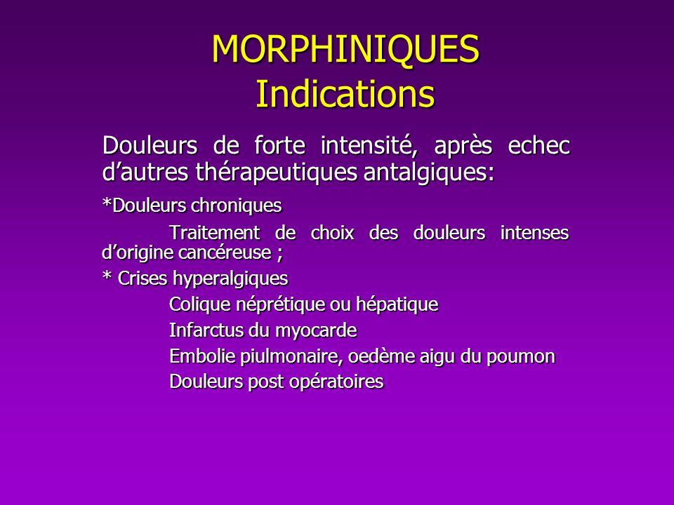 MORPHINIQUES Indications Douleurs de forte intensité, après echec dautres thérapeutiques antalgiques: *Douleurs chroniques Traitement de choix des dou