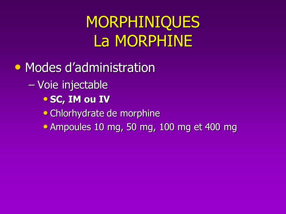 MORPHINIQUES La MORPHINE Modes dadministration Modes dadministration –Voie injectable SC, IM ou IV SC, IM ou IV Chlorhydrate de morphine Chlorhydrate