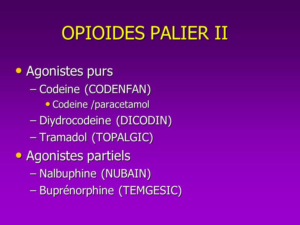 OPIOIDES PALIER II Agonistes purs Agonistes purs –Codeine (CODENFAN) Codeine /paracetamol Codeine /paracetamol –Diydrocodeine (DICODIN) –Tramadol (TOP