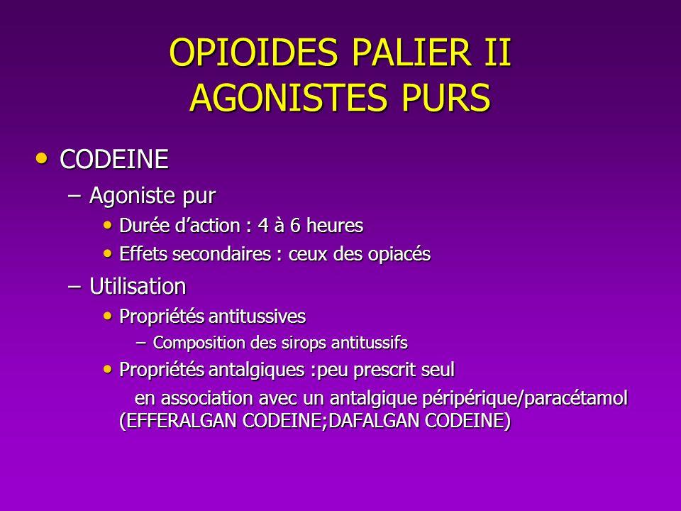 OPIOIDES PALIER II AGONISTES PURS CODEINE CODEINE –Agoniste pur Durée daction : 4 à 6 heures Durée daction : 4 à 6 heures Effets secondaires : ceux de