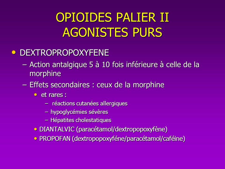OPIOIDES PALIER II AGONISTES PURS DEXTROPROPOXYFENE DEXTROPROPOXYFENE –Action antalgique 5 à 10 fois inférieure à celle de la morphine –Effets seconda