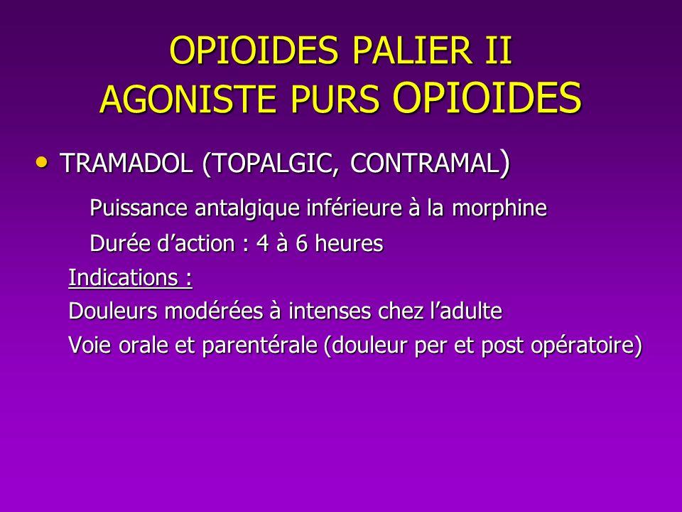 OPIOIDES PALIER II AGONISTE PURS OPIOIDES TRAMADOL (TOPALGIC, CONTRAMAL ) TRAMADOL (TOPALGIC, CONTRAMAL ) Puissance antalgique inférieure à la morphin