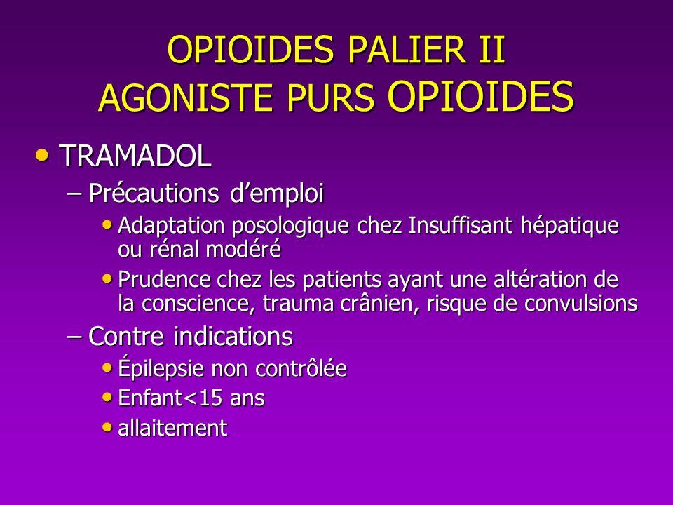 OPIOIDES PALIER II AGONISTE PURS OPIOIDES TRAMADOL TRAMADOL –Précautions demploi Adaptation posologique chez Insuffisant hépatique ou rénal modéré Ada