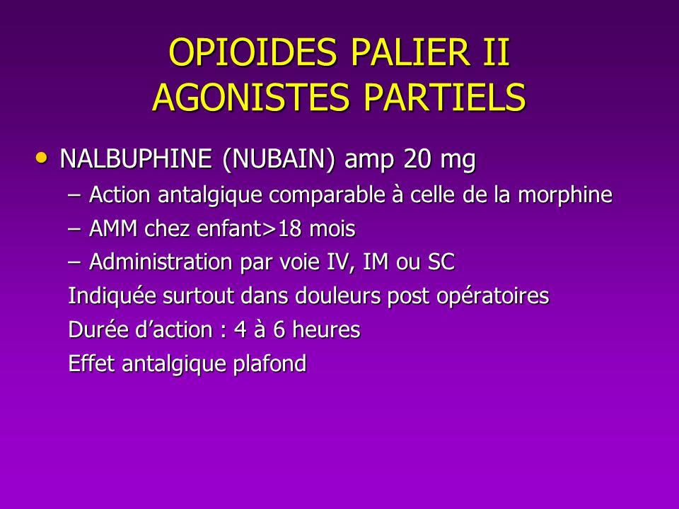 OPIOIDES PALIER II AGONISTES PARTIELS NALBUPHINE (NUBAIN) amp 20 mg NALBUPHINE (NUBAIN) amp 20 mg –Action antalgique comparable à celle de la morphine