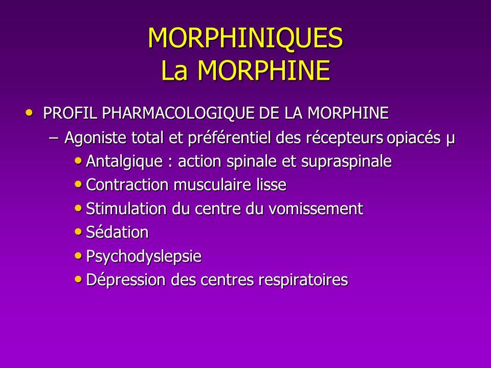 MORPHINIQUES La MORPHINE PROFIL PHARMACOLOGIQUE DE LA MORPHINE PROFIL PHARMACOLOGIQUE DE LA MORPHINE –Agoniste total et préférentiel des récepteurs op