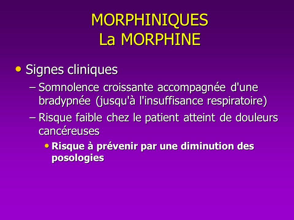 MORPHINIQUES La MORPHINE Signes cliniques Signes cliniques –Somnolence croissante accompagnée d'une bradypnée (jusqu'à l'insuffisance respiratoire) –R