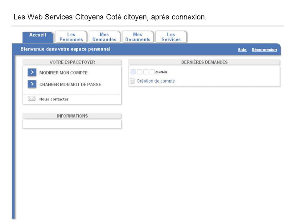 Les Web Services Citoyens Coté citoyen, après connexion.