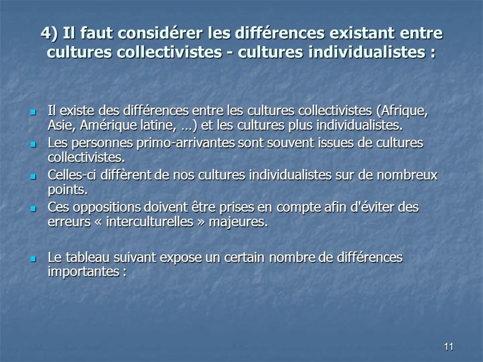 11 4) Il faut considérer les différences existant entre cultures collectivistes - cultures individualistes : Il existe des différences entre les cultu