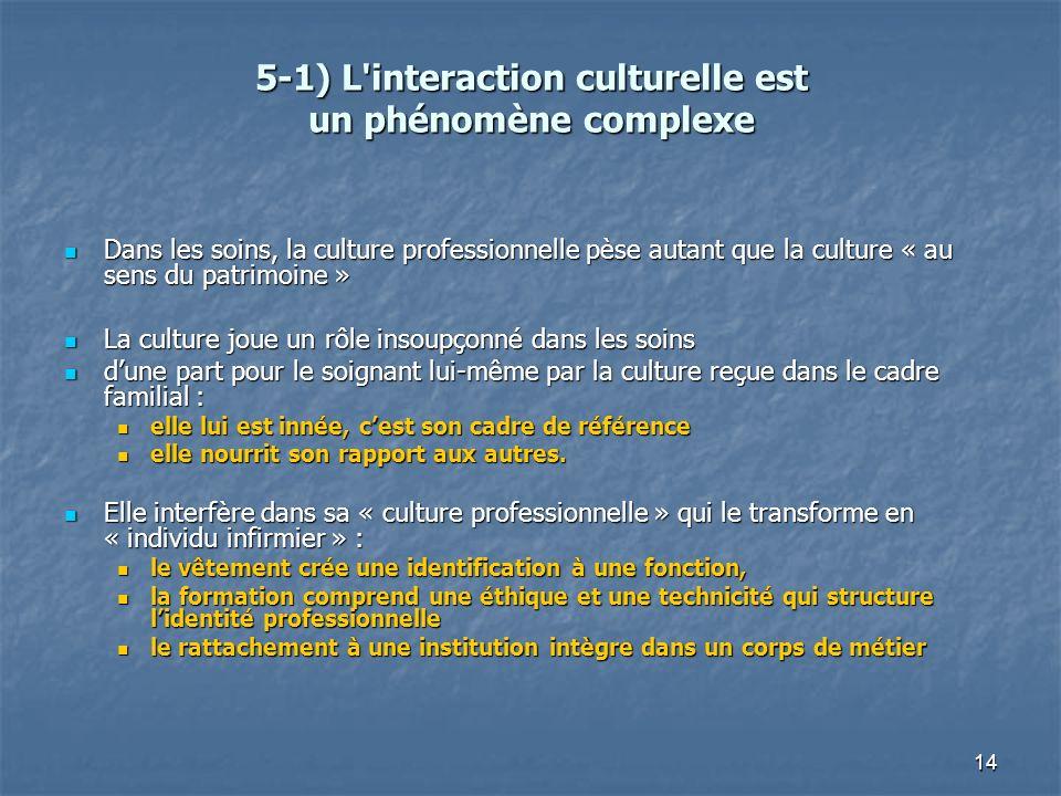 14 5-1) L'interaction culturelle est un phénomène complexe Dans les soins, la culture professionnelle pèse autant que la culture « au sens du patrimoi
