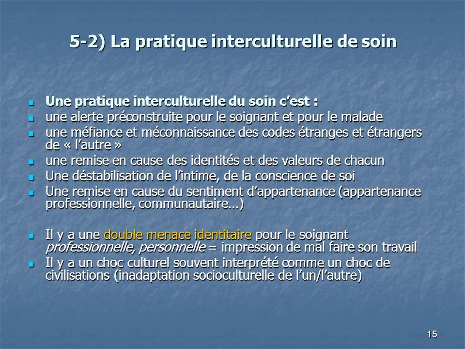 15 5-2) La pratique interculturelle de soin Une pratique interculturelle du soin cest : Une pratique interculturelle du soin cest : une alerte précons
