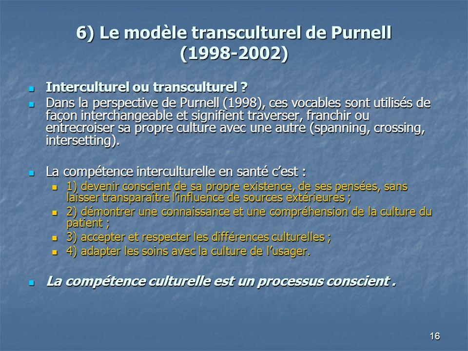 16 6) Le modèle transculturel de Purnell (1998-2002) Interculturel ou transculturel ? Interculturel ou transculturel ? Dans la perspective de Purnell