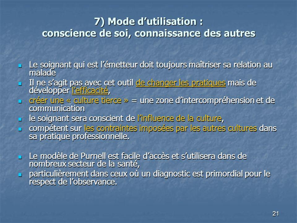 21 7) Mode dutilisation : conscience de soi, connaissance des autres Le soignant qui est lémetteur doit toujours maîtriser sa relation au malade Le so