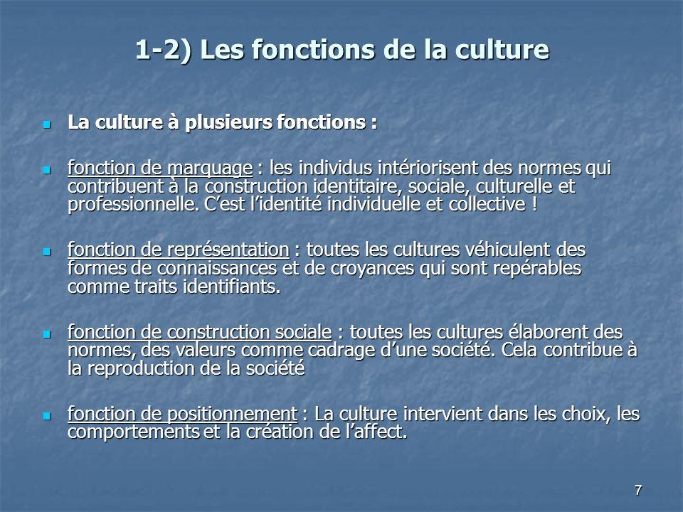 7 1-2) Les fonctions de la culture La culture à plusieurs fonctions : La culture à plusieurs fonctions : fonction de marquage : les individus intérior
