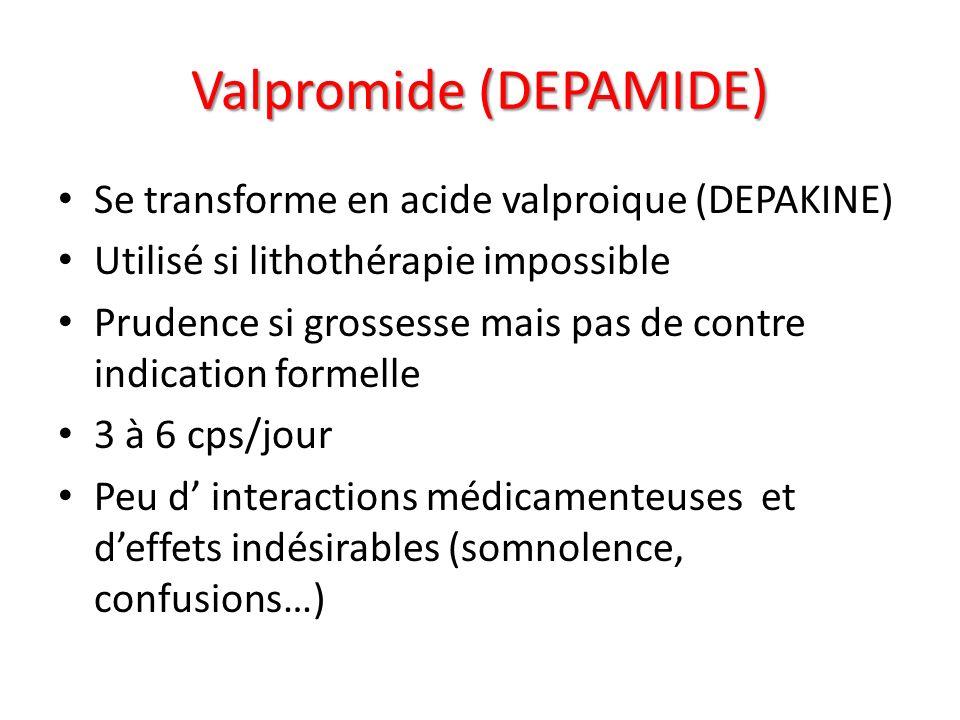 Valpromide (DEPAMIDE) Se transforme en acide valproique (DEPAKINE) Utilisé si lithothérapie impossible Prudence si grossesse mais pas de contre indica