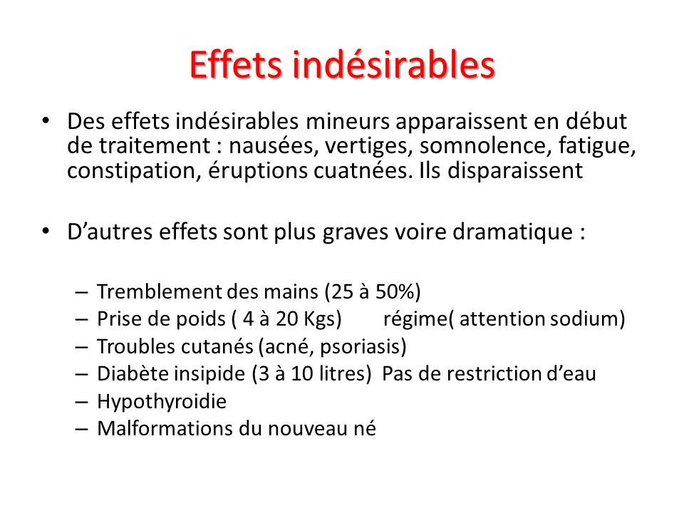 Effets indésirables Des effets indésirables mineurs apparaissent en début de traitement : nausées, vertiges, somnolence, fatigue, constipation, érupti