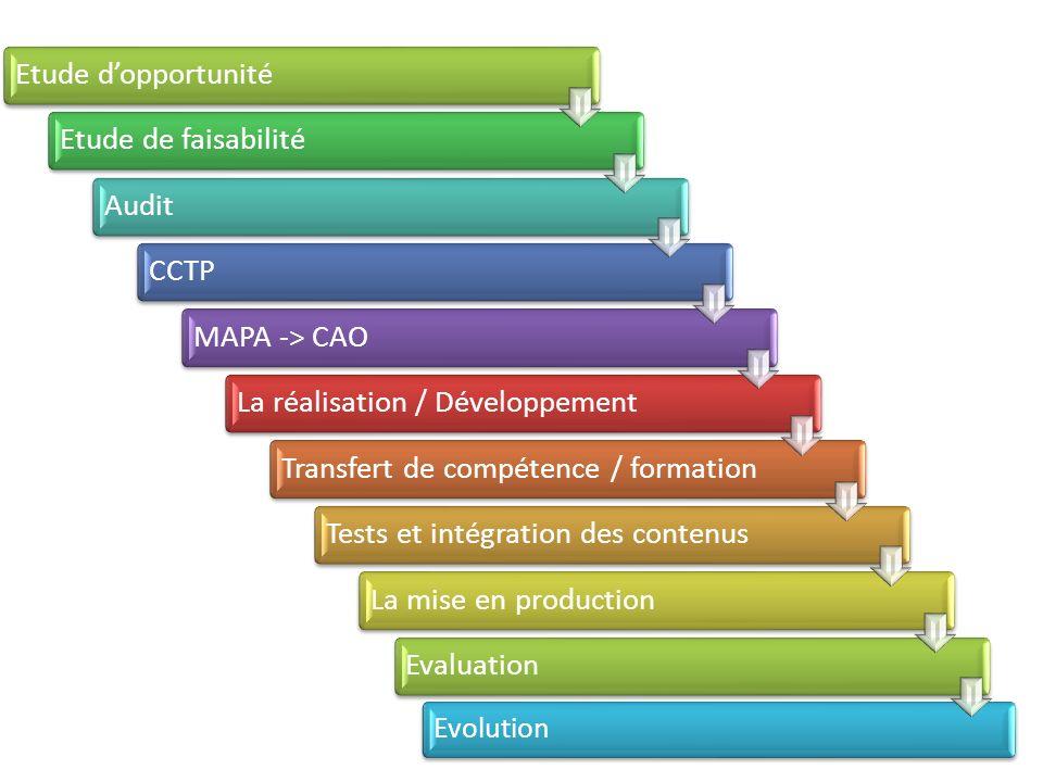 Etude dopportunitéEtude de faisabilitéAuditCCTPMAPA -> CAOLa réalisation / DéveloppementTransfert de compétence / formationTests et intégration des contenusLa mise en productionEvaluation Evolution