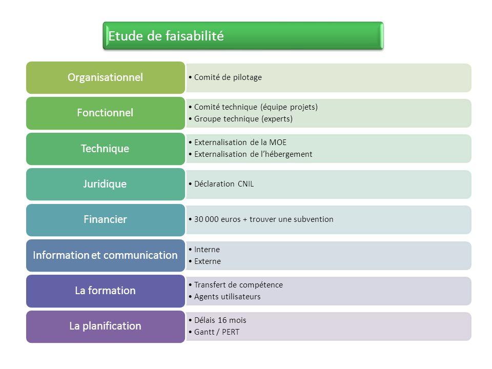 Comité de pilotage Organisationnel Comité technique (équipe projets) Groupe technique (experts) Fonctionnel Externalisation de la MOE Externalisation