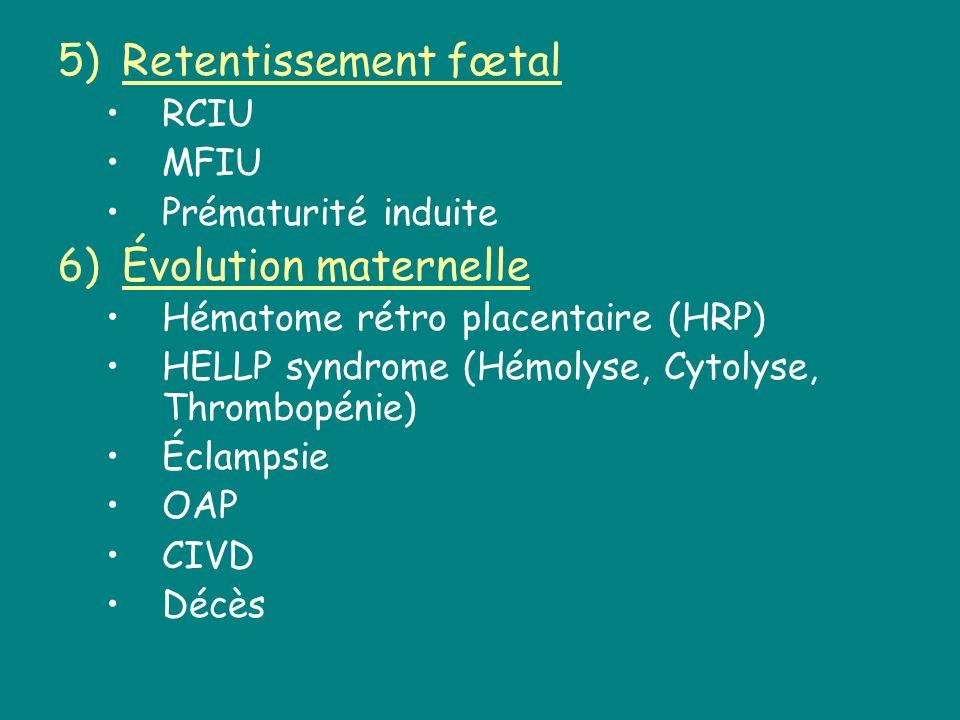 5)Retentissement fœtal RCIU MFIU Prématurité induite 6)Évolution maternelle Hématome rétro placentaire (HRP) HELLP syndrome (Hémolyse, Cytolyse, Throm