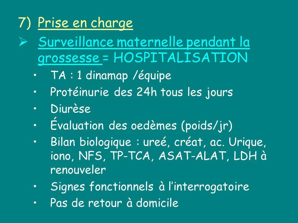 7)Prise en charge Surveillance maternelle pendant la grossesse = HOSPITALISATION TA : 1 dinamap /équipe Protéinurie des 24h tous les jours Diurèse Éva