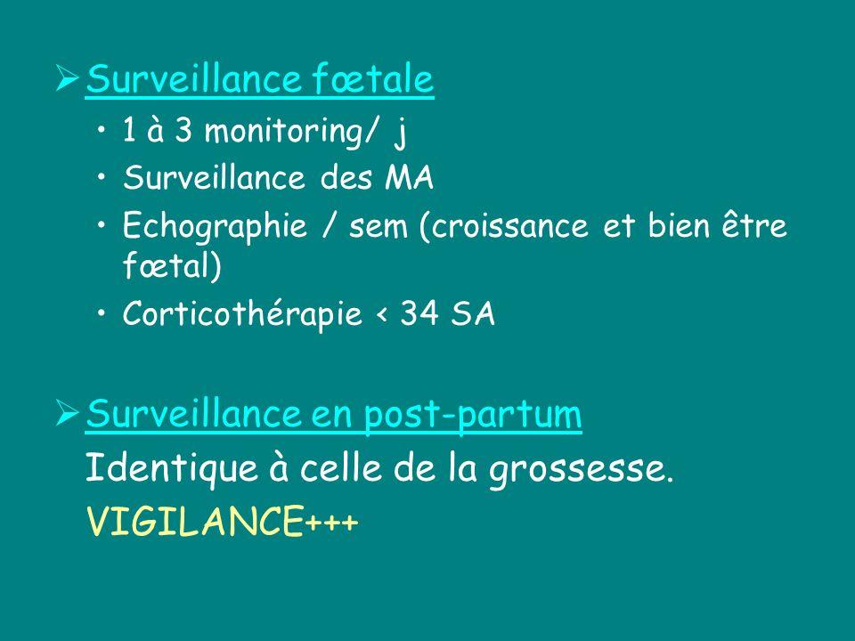 Surveillance fœtale 1 à 3 monitoring/ j Surveillance des MA Echographie / sem (croissance et bien être fœtal) Corticothérapie < 34 SA Surveillance en