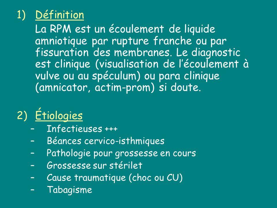 1)Définition La RPM est un écoulement de liquide amniotique par rupture franche ou par fissuration des membranes. Le diagnostic est clinique (visualis