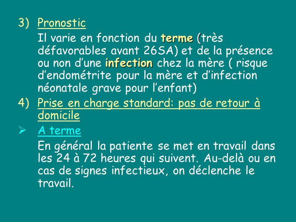 3)Pronostic terme ( infection Il varie en fonction du terme (très défavorables avant 26SA) et de la présence ou non dune infection chez la mère ( risq