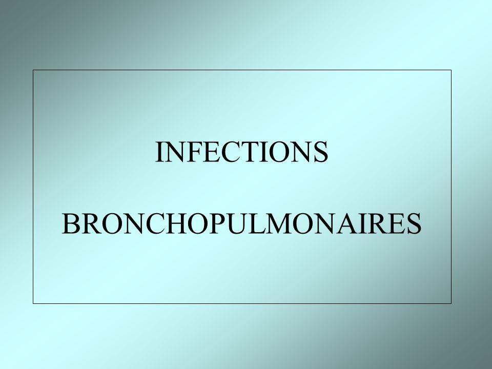 EVOLUTION (2) Evolution favorable spontannée Traitement symptomatique (aspirine, Vitamine C, antitussifs, fluidifiants bronchiques) Antibiothérapie en cas de surinfection bronchique et selon le terrain Kinésithérapie respiratoire (si encombrement bronchique) BRONCHITES INFECTIEUSES