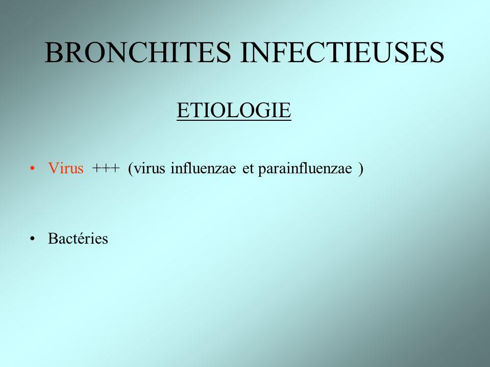 ETIOLOGIE Virus +++ (virus influenzae et parainfluenzae ) Bactéries BRONCHITES INFECTIEUSES
