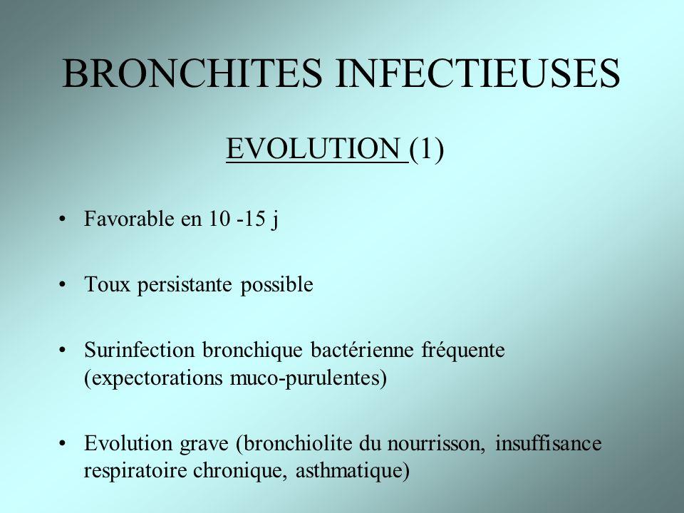 EVOLUTION (1) Favorable en 10 -15 j Toux persistante possible Surinfection bronchique bactérienne fréquente (expectorations muco-purulentes) Evolution