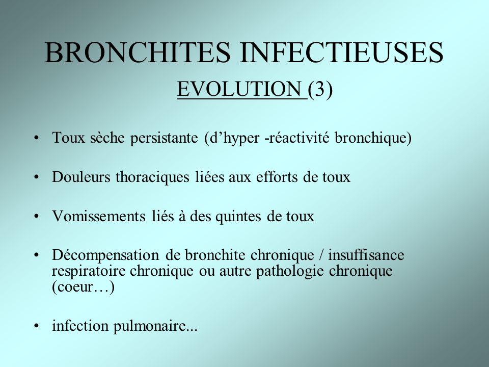 EVOLUTION (3) Toux sèche persistante (dhyper -réactivité bronchique) Douleurs thoraciques liées aux efforts de toux Vomissements liés à des quintes de