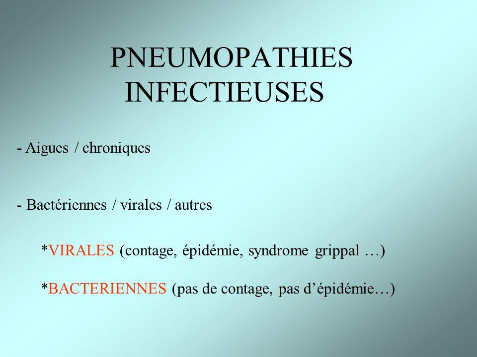 PNEUMOPATHIES INFECTIEUSES - Aigues / chroniques - Bactériennes / virales / autres *VIRALES (contage, épidémie, syndrome grippal …) *BACTERIENNES (pas