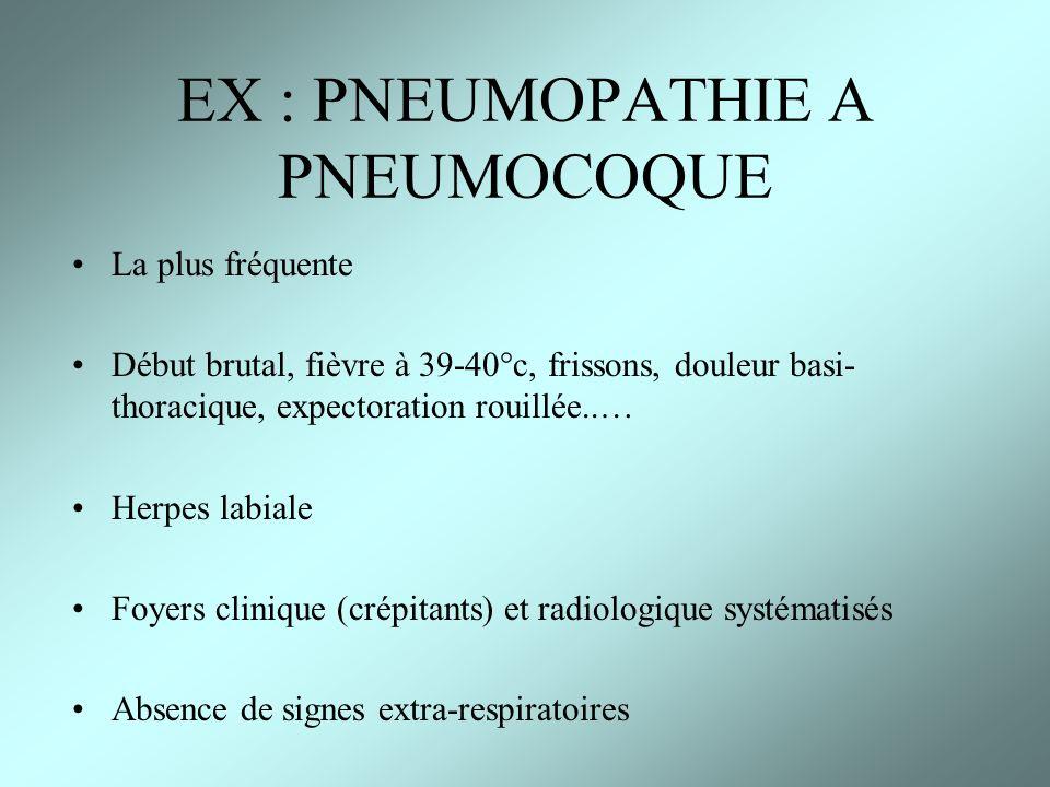 EX : PNEUMOPATHIE A PNEUMOCOQUE La plus fréquente Début brutal, fièvre à 39-40°c, frissons, douleur basi- thoracique, expectoration rouillée..… Herpes