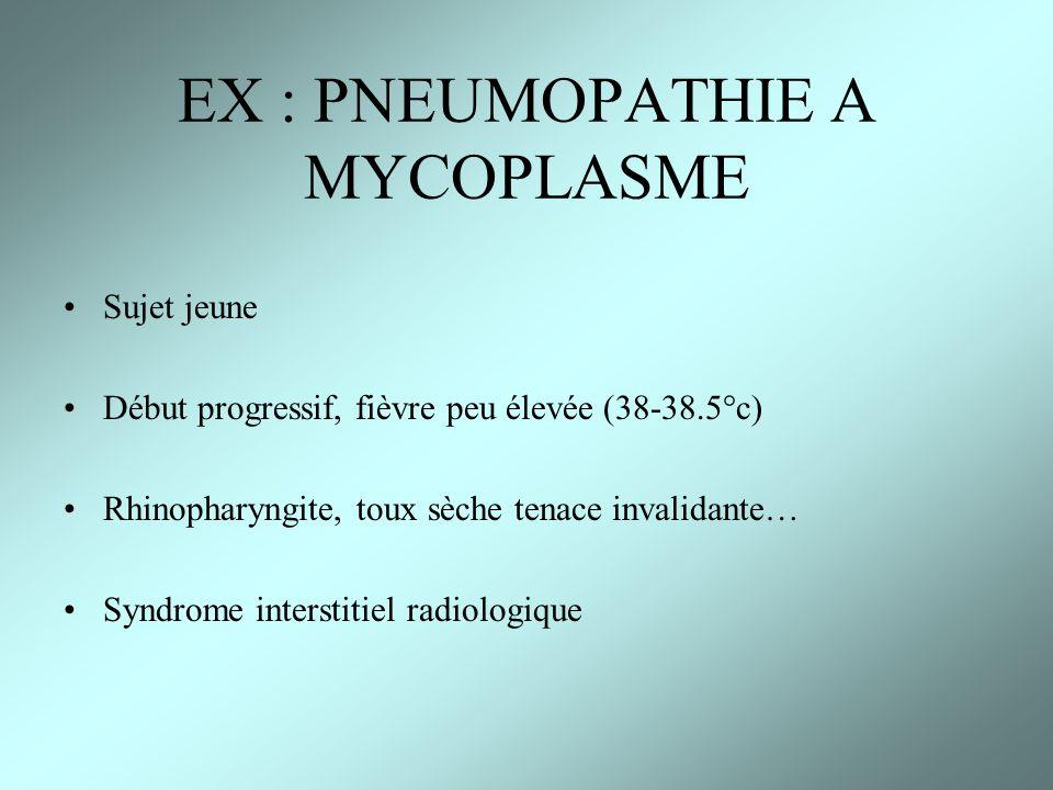 EX : PNEUMOPATHIE A MYCOPLASME Sujet jeune Début progressif, fièvre peu élevée (38-38.5°c) Rhinopharyngite, toux sèche tenace invalidante… Syndrome in