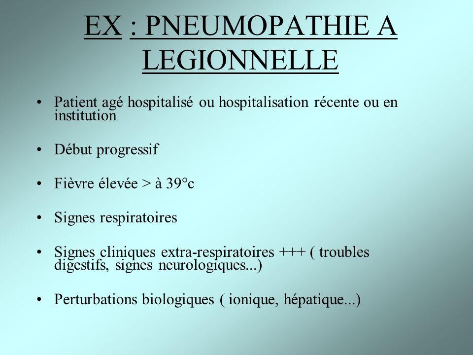 EX : PNEUMOPATHIE A LEGIONNELLE Patient agé hospitalisé ou hospitalisation récente ou en institution Début progressif Fièvre élevée > à 39°c Signes re
