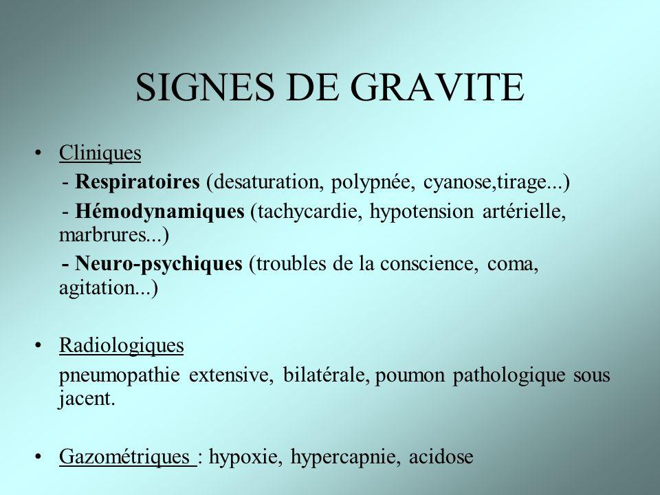 SIGNES DE GRAVITE Cliniques - Respiratoires (desaturation, polypnée, cyanose,tirage...) - Hémodynamiques (tachycardie, hypotension artérielle, marbrur