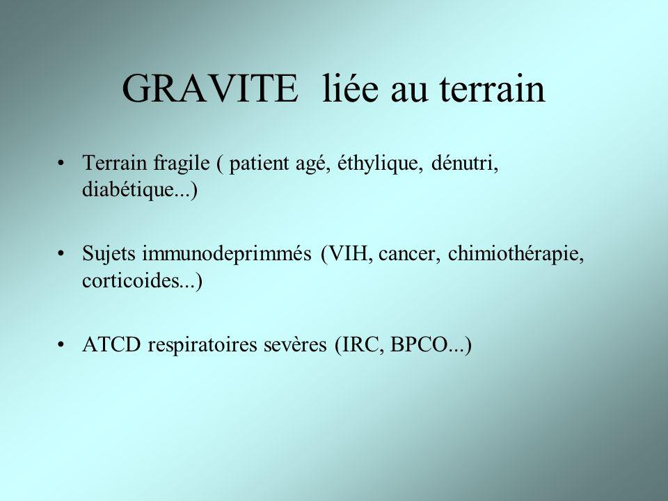 GRAVITE liée au terrain Terrain fragile ( patient agé, éthylique, dénutri, diabétique...) Sujets immunodeprimmés (VIH, cancer, chimiothérapie, cortico