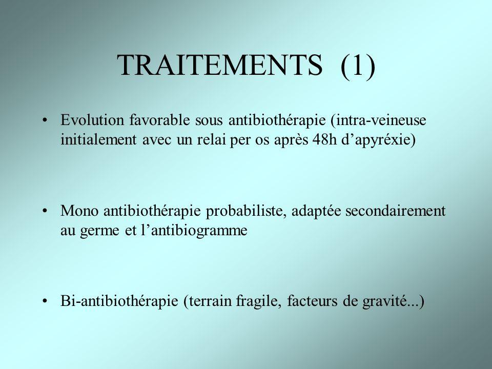 TRAITEMENTS (1) Evolution favorable sous antibiothérapie (intra-veineuse initialement avec un relai per os après 48h dapyréxie) Mono antibiothérapie p