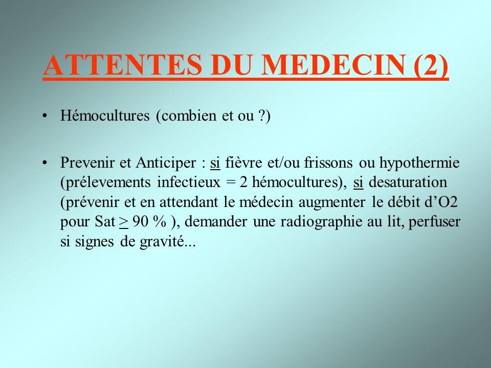 ATTENTES DU MEDECIN (2) Hémocultures (combien et ou ?) Prevenir et Anticiper : si fièvre et/ou frissons ou hypothermie (prélevements infectieux = 2 hé