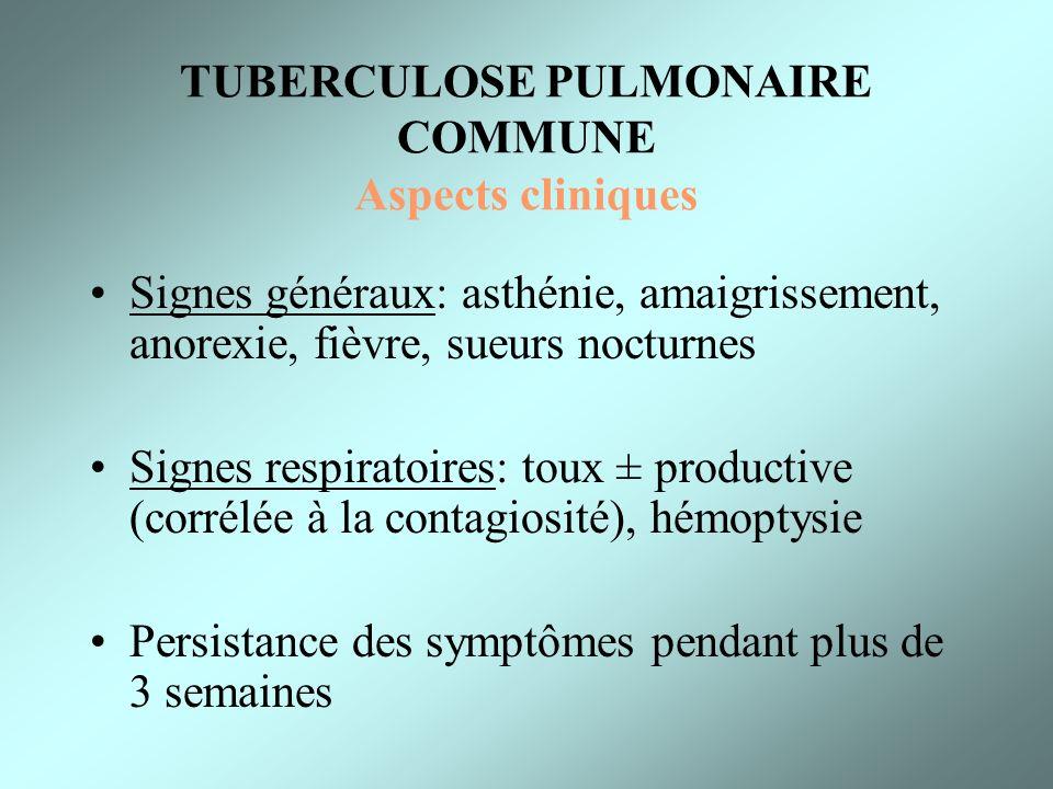 TUBERCULOSE PULMONAIRE COMMUNE Aspects cliniques Signes généraux: asthénie, amaigrissement, anorexie, fièvre, sueurs nocturnes Signes respiratoires: t