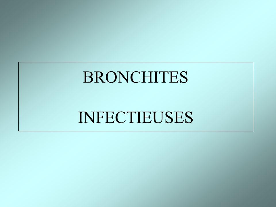 Inflammation aigüe des bronches Lorigine infectieuse est le plus souvent virale (ou bactérienne) Infections saisonnières touchant des millions de personnes /an (épidémie) Surinfection bactérienne secondaire à laltération de la muqueuse par le virus Evolution bénigne