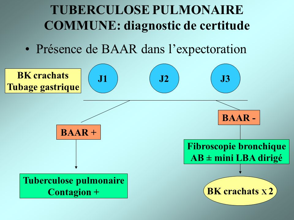TUBERCULOSE PULMONAIRE COMMUNE: diagnostic de certitude Présence de BAAR dans lexpectoration J1J2J3 BK crachats Tubage gastrique BAAR + BAAR - Tubercu