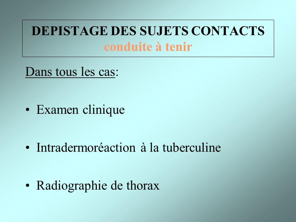 DEPISTAGE DES SUJETS CONTACTS conduite à tenir Dans tous les cas: Examen clinique Intradermoréaction à la tuberculine Radiographie de thorax