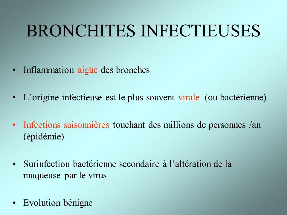 Inflammation aigüe des bronches Lorigine infectieuse est le plus souvent virale (ou bactérienne) Infections saisonnières touchant des millions de pers