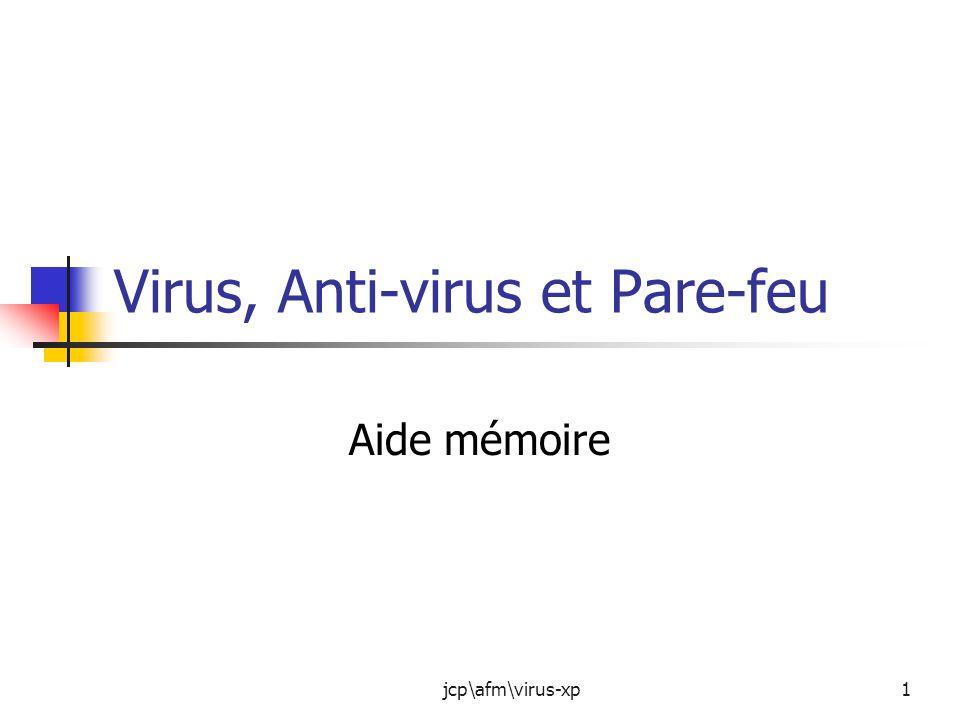 jcp\afm\virus-xp2 Présentation de la session Quest ce quun virus et tous les parasites qui peuvent infecter votre PC Les anti-virus Le pare-feu (firewall)