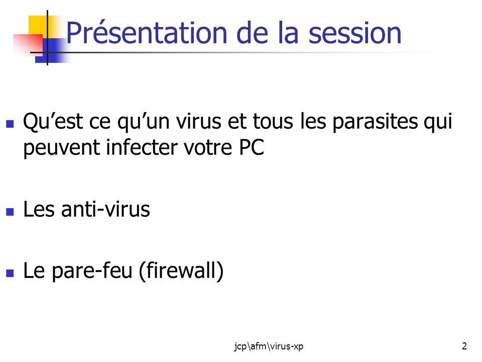 jcp\afm\virus-xp13 Autres formes de virus : Le Spyware : Un logiciel espion (espiogiciel, mouchard ou en anglais Spyware) est un logiciel malveillant qui s installe dans un ordinateur dans le but de collecter et transférer des informations sur l environnement dans lequel il s est installé, très souvent sans que l utilisateur n en ait connaissance.