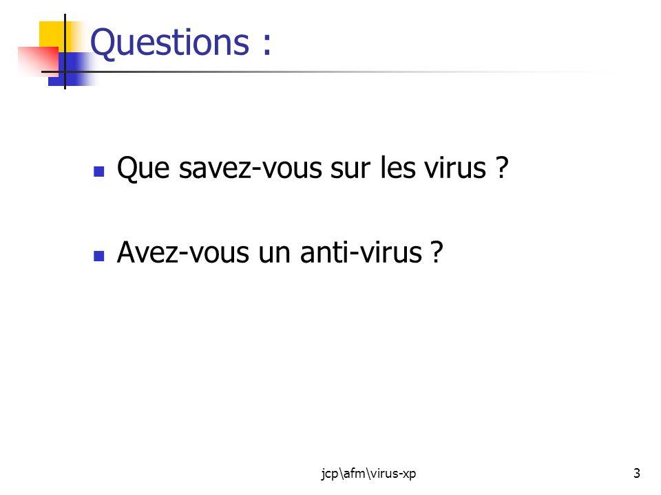 jcp\afm\virus-xp24 Avant dacheter, il faut se protéger : Les protections « de base » sont simples : Nouvrez pas nimporte quoi : En ce qui concerne le courrier électronique, quelques conseils: - nouvrez jamais une pièce jointe si vous ne savez pas de quoi il sagit, même si vous connaissez son expéditeur.