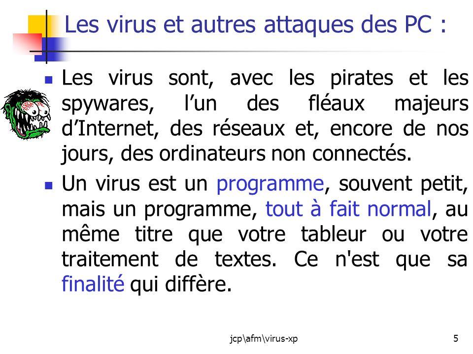 jcp\afm\virus-xp6 Finalité dun virus : 1.Pénétrer un organisme : votre ordinateur.