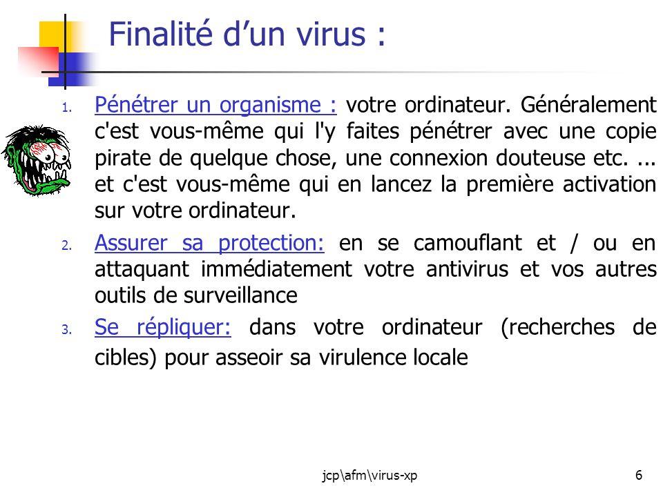 jcp\afm\virus-xp7 Finalité dun virus : 4.